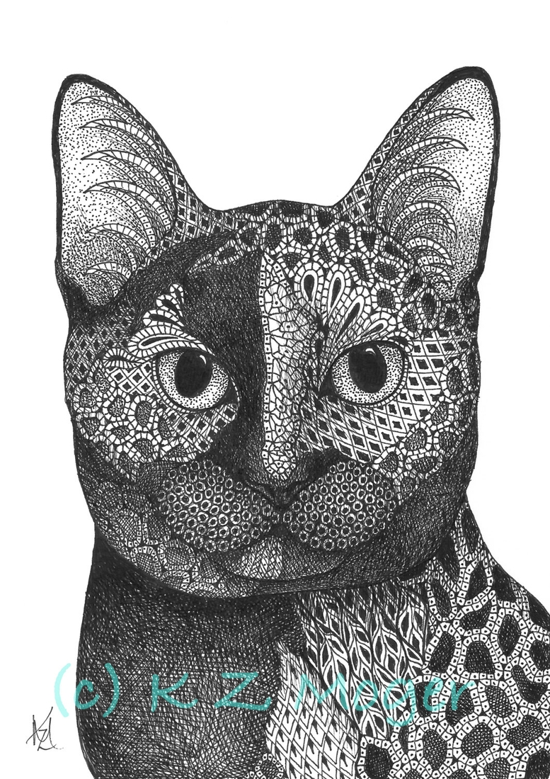 02-The-Cat-Kristin-Moger-Domestic-and-Wild-Zentangle-Animal-Portraits-www-designstack-co