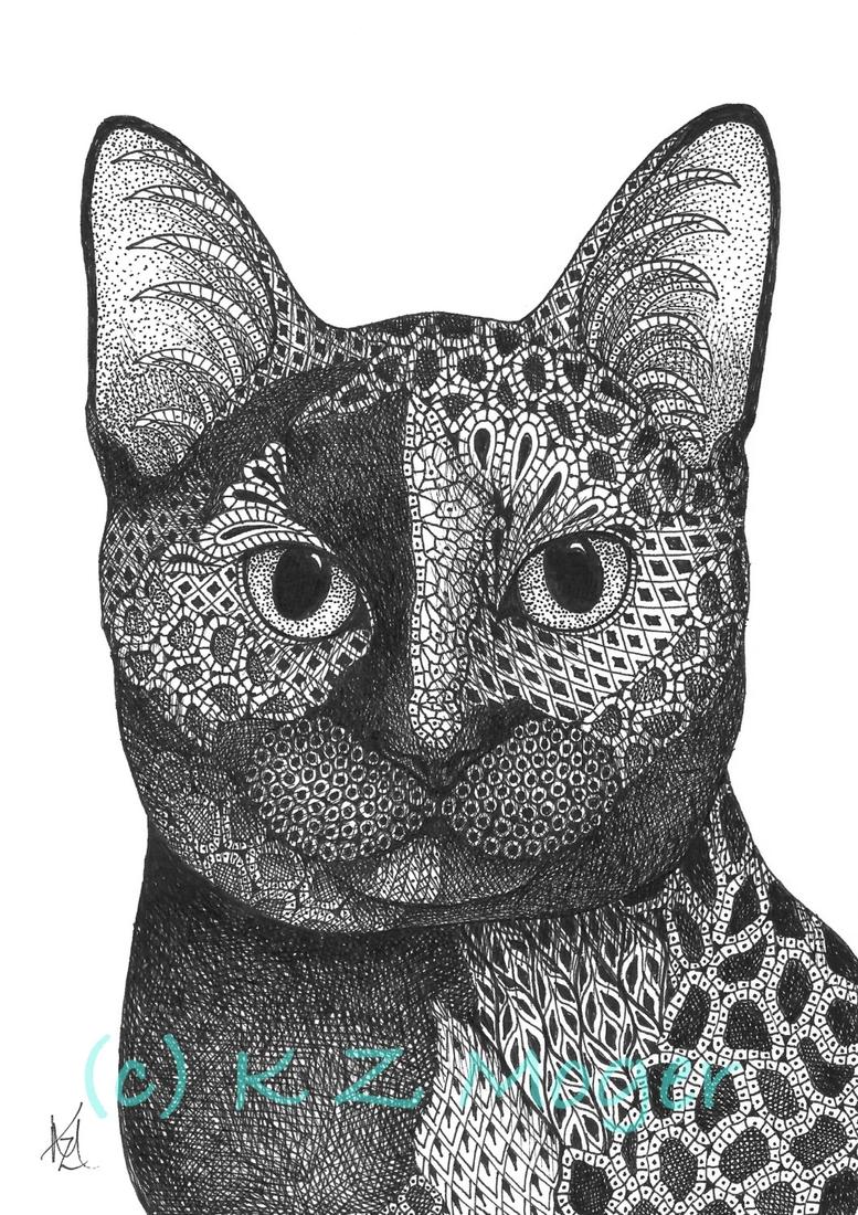 02-The-Cat-Kristin-Moger-Domestic-and-Wild-Zentangle-Animal-Portraits-www-designstack-co
