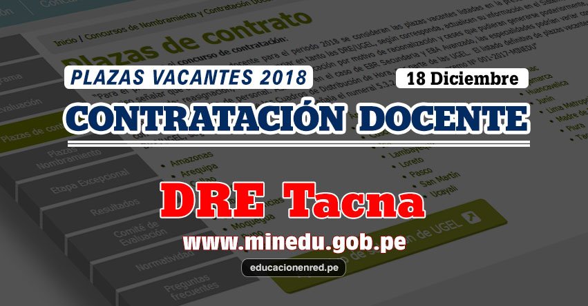 DRE Tacna: Plazas Vacantes Contrato Docente 2018 (.PDF) www.educaciontacna.edu.pe