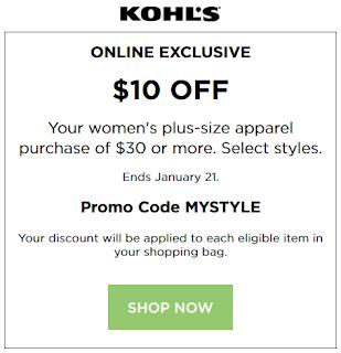 Kohls coupon $10 OFF $30 Women's Plus-size Clothing