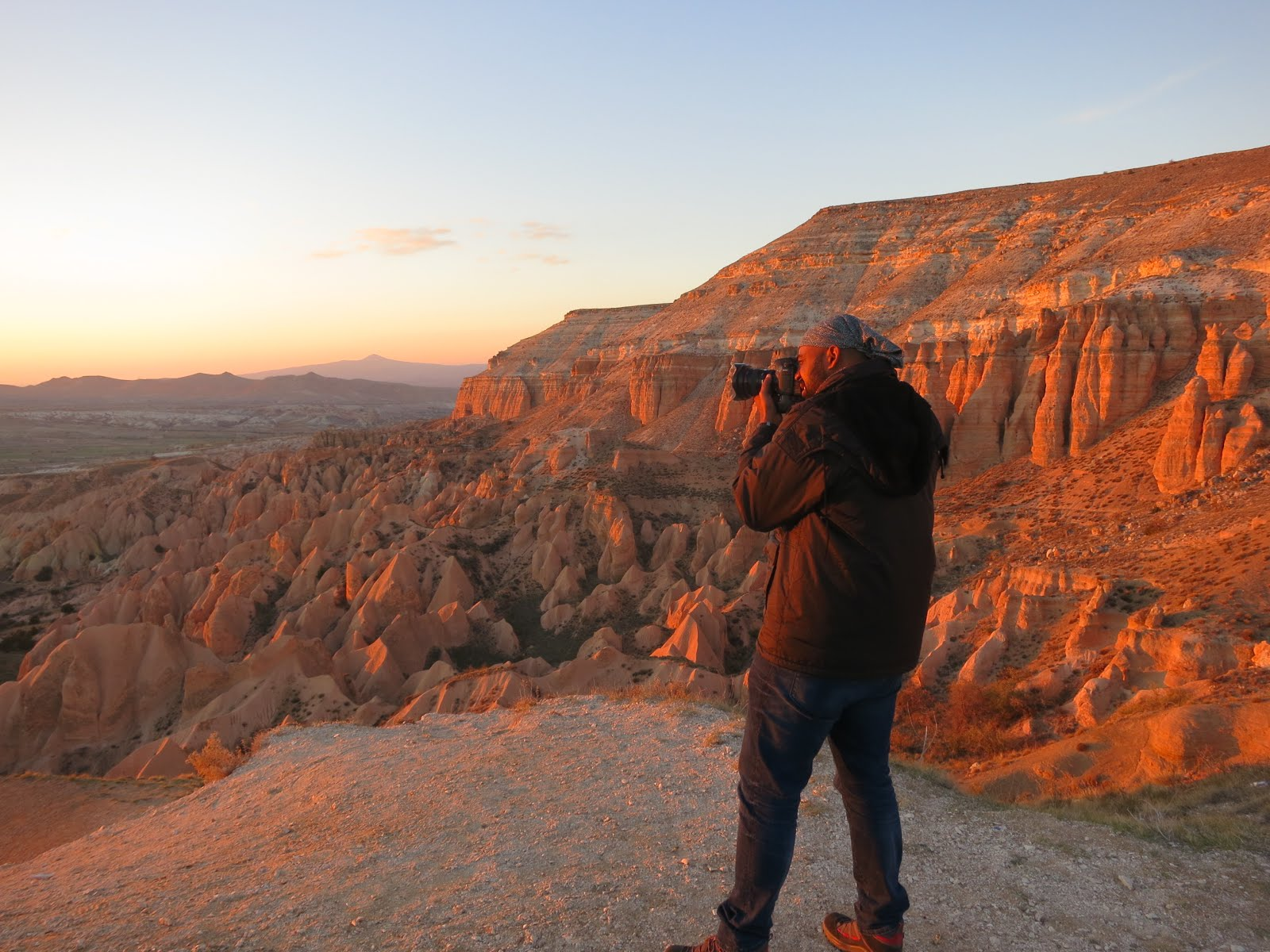 Photographing the sunset at Red Valley, Cappadocia, Turkey