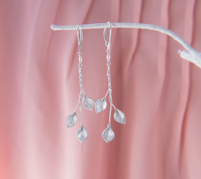 Art Nouveau elf elvish nature Cascading Leaves Bridal wedding dangle statement Earrings in Silver