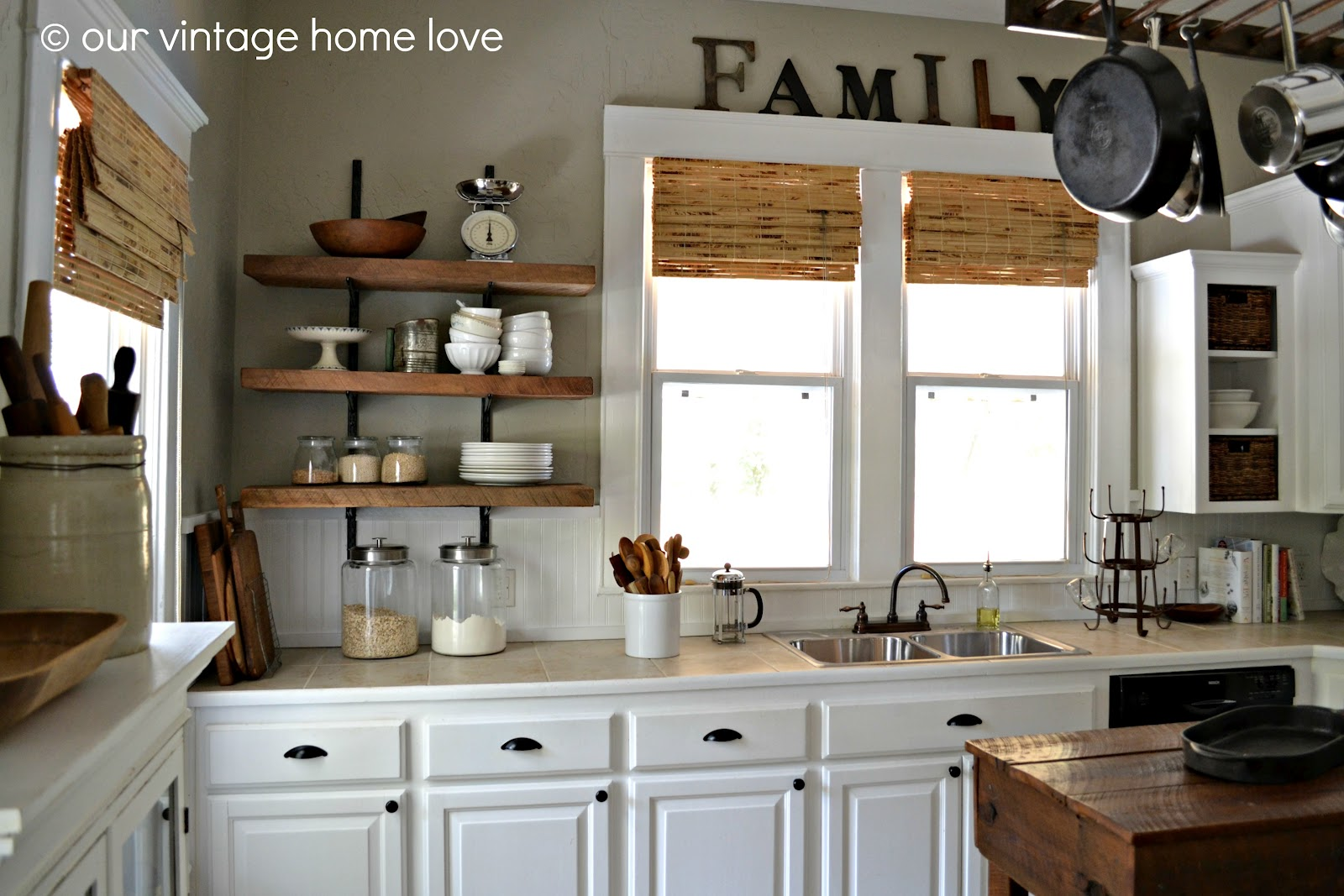 vintage home love: Reclaimed Wood Kitchen Shelving - Reveal