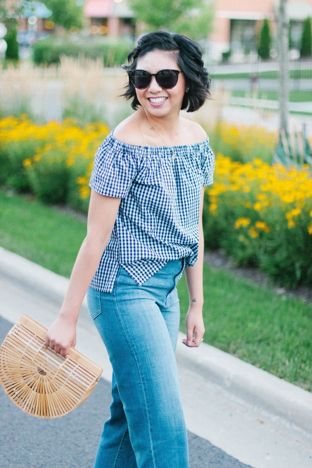 Gingham Off the Shoulder Top with Velvet Heart