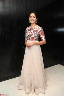 Ritu Varma smiling face Cream Anarkali dress at launch of OPPO New Selfie Camera F3 ~  Exclusive 001.JPG