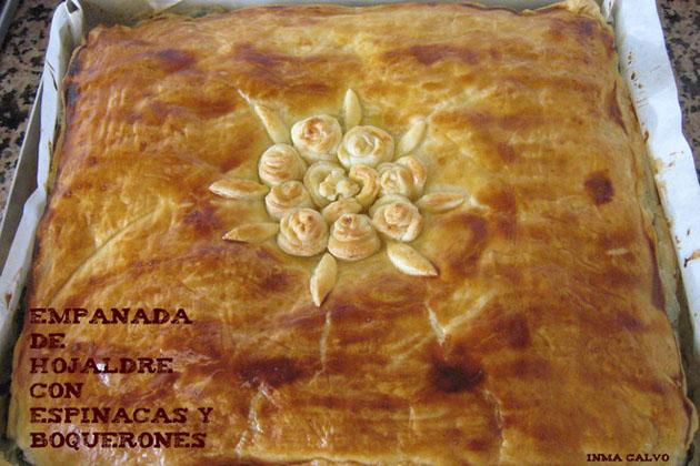Empanada de hojaldre con espinacas y boquerones