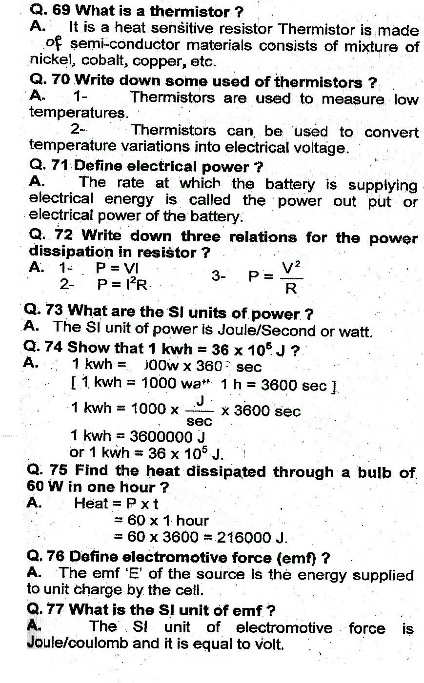 2nd Year Physics Chapter 13 Current Electricity Short Questions 8