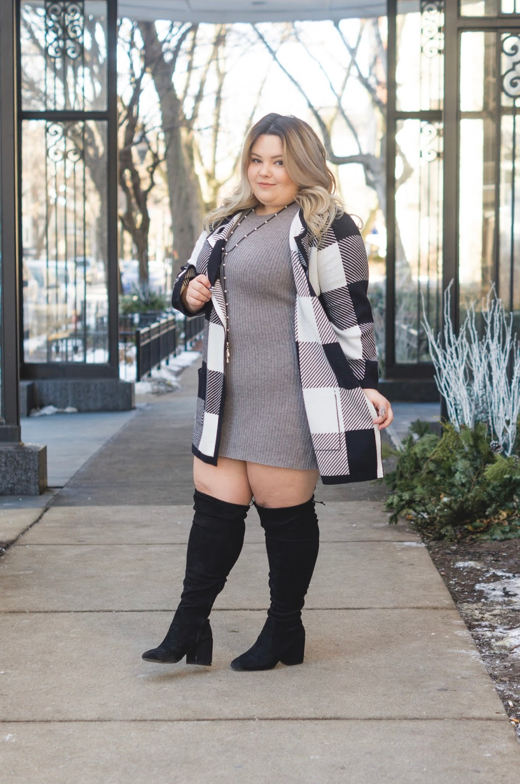 embrace your curves, wide calf over the knee boots, wide calf boots, alfani, macks plus size, affordable plus size clothing, plus size poncho, sweater jacket, Natalie craig, natalie in the city, plus size fashion, Chicago plus size fashion blogger, Chicago model, midwest blogger, eff your beauty standards