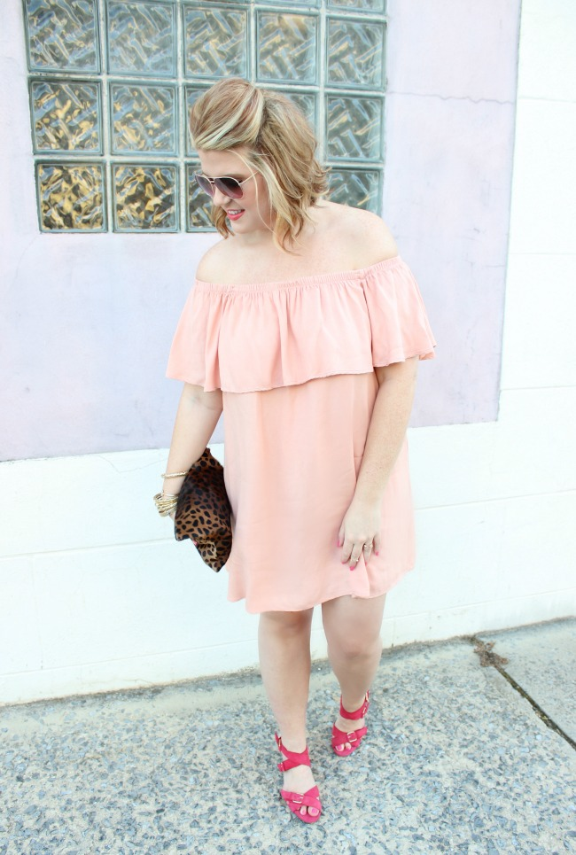 Off the shoulder ruffled dress / Pink heels / Leopard clutch / Tassel earrings