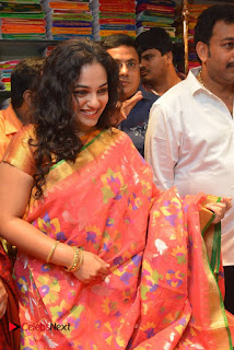 Actress Nithya Menen Pictures in Silk Saree at Kalamandir 25th Store Launch  0007