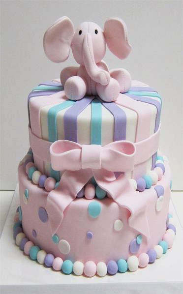 Birthday Cake With A Pink Elephant Up