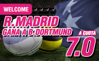 wanabet Real Madrid gana Dortmund cuota 7 + 150 euros 27 septiembre