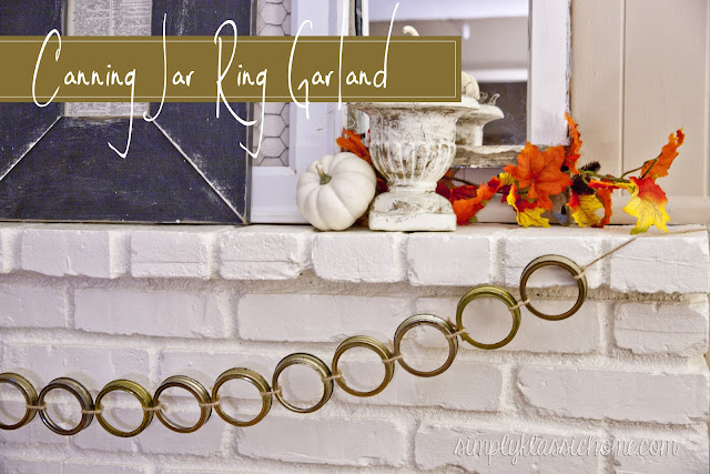Canning Jar Ring Garland & a Simple Fall Mantel