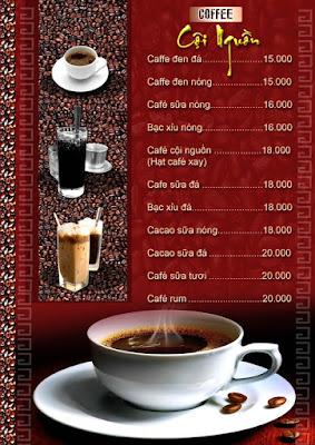 mẫu menu quán cafe