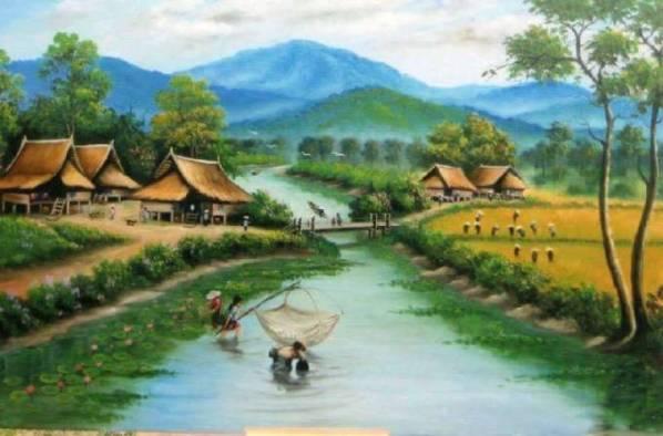 Nostalgia 8 Lukisan Pemandangan Sawah Era 90an Kenangan Masa kecil Dulu