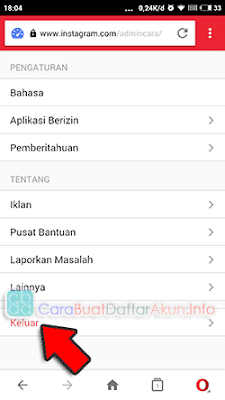 log out instagram di opera mini