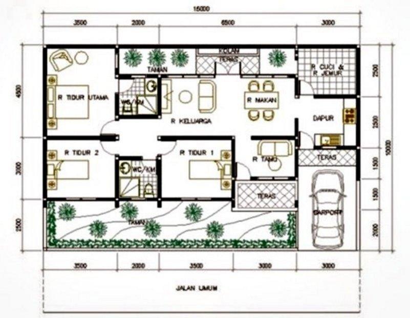 denah rumah minimalis 7x9 1 lantai 4