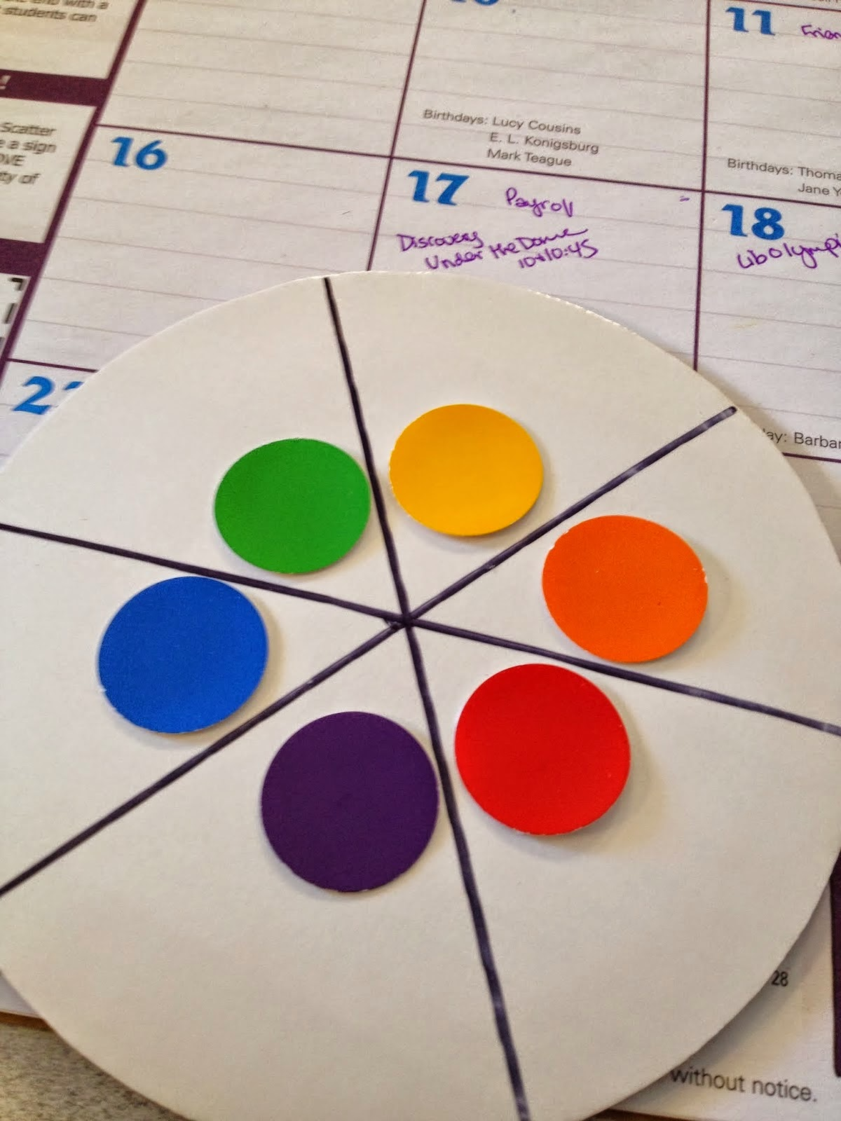 colour wheel matching game