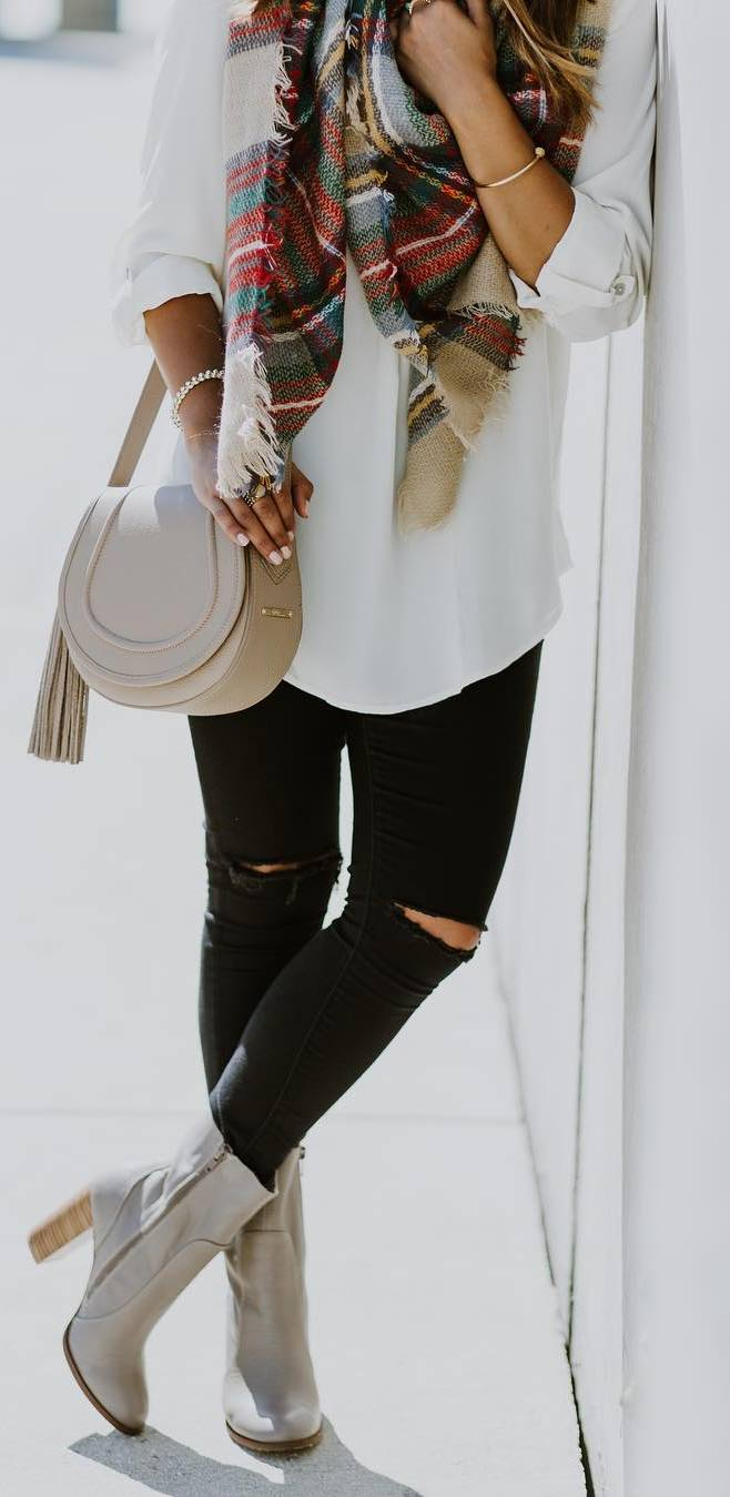 awesome outfit idea: scraf + white shirt + bag + rips + boots