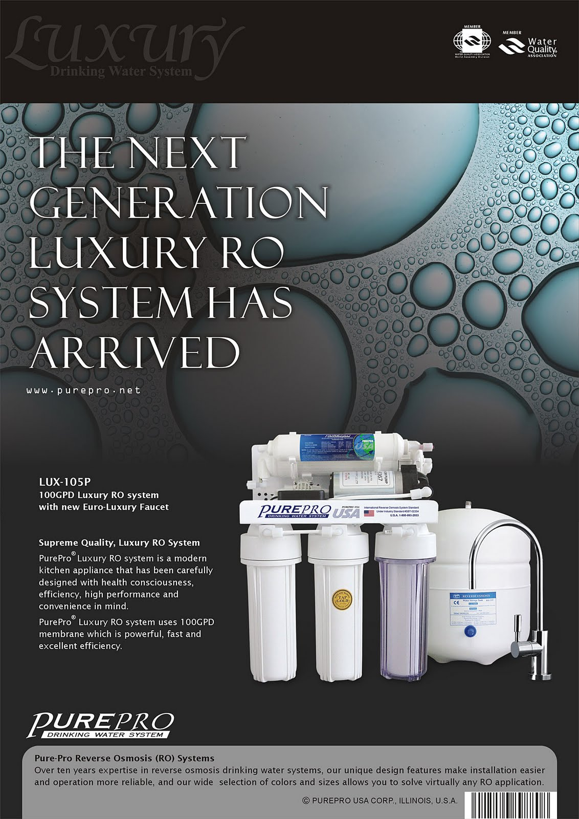 PurePro® LUX-105P Reverse Osmosis Water Filtration System