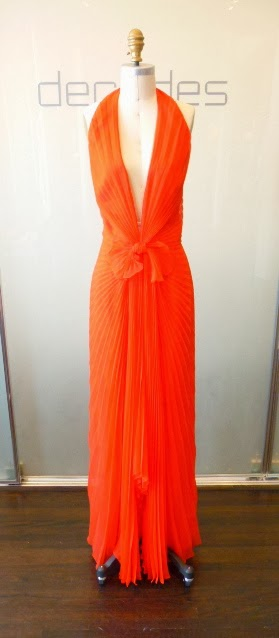 9b316db479c4 Red Chiffon gathered gown, c.1970's. Marked size 12, modern 8 to 10. SOLD