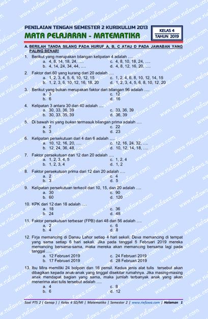 Soal Matematika Kelas 4 Semester 2 Kurikulum 2013 Revisi 2018 : matematika, kelas, semester, kurikulum, revisi, Download, Genap, Matematika, Kelas, SD/MI, Semester, Kurikulum