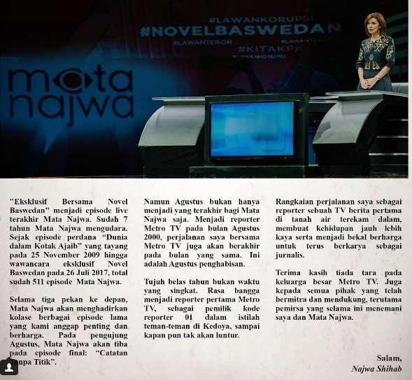 Episode Terakhir Mata Najwa Mengudara,Catatan Tanpa Titik. Pemirsa : Kami Sedih Kehilangan Satu Lagi Tayangan Berkualitas.