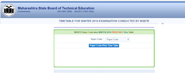Paper Code-Wise MSBTE Winter Exam 2016 Time Table