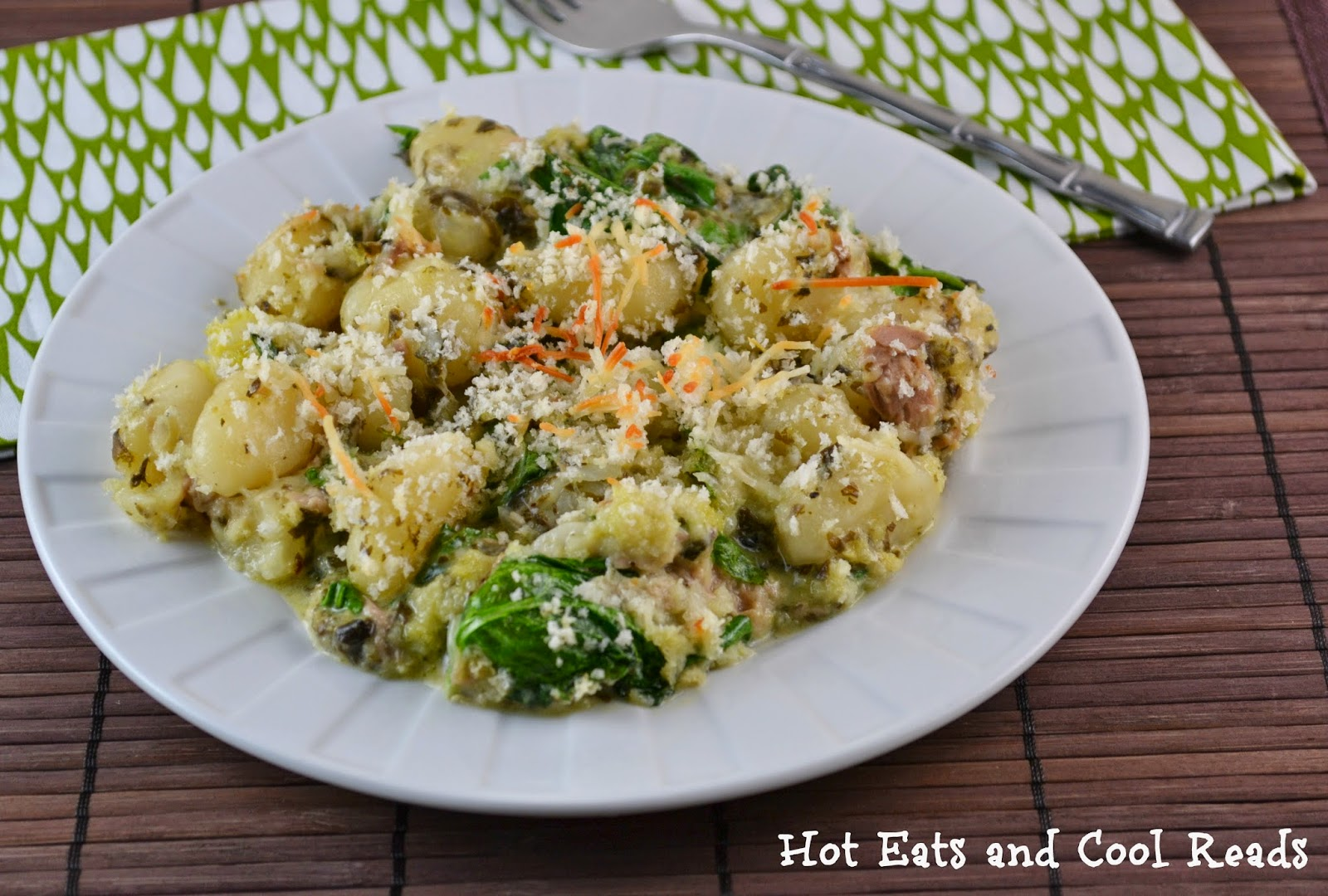 30 minute budget friendly meal! Full of flavor! Baked Pesto Tuna Gnocchi Casserole from Hot Eats and Cool Reads!