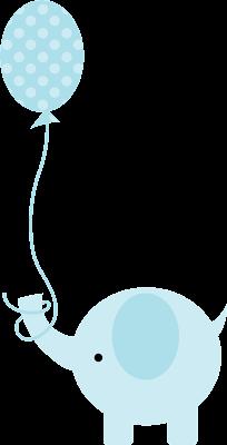 elefante para baby shower en azul