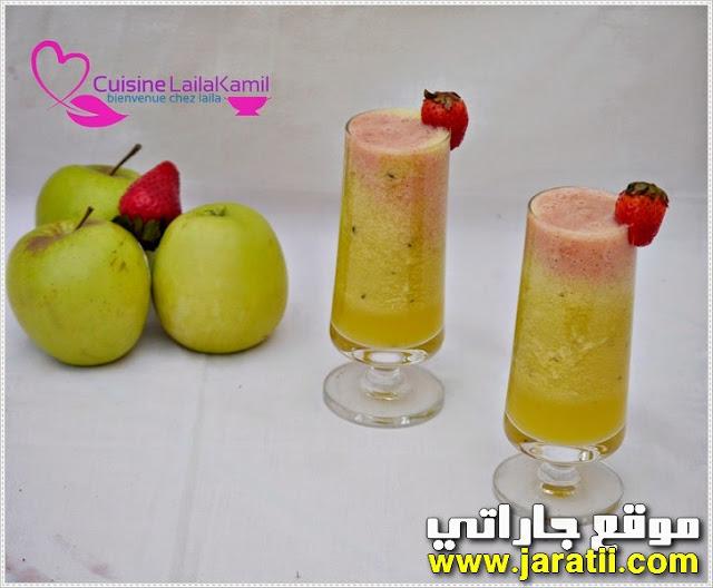 عصير التفاح والفريز غني ولذيذ جدا