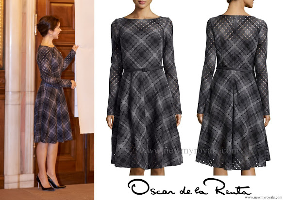 Crown Princess Mary wore Oscar de la Renta Diamond Cutout Plaid Dress