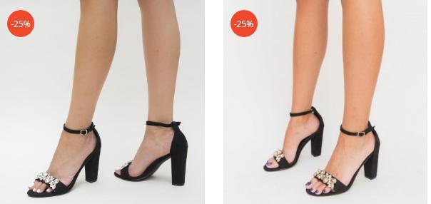 Sandale din piele ceo intoarsa negre cu brasa aurie si argintie elegante