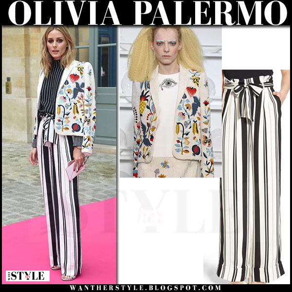 Olivia Palermo in white embroidered schiaparelli jacket and white and black striped wide leg pants chelsea28 what she wore front row paris