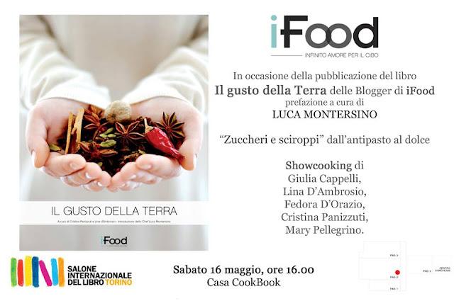 Immagine della locandina dello Showcooking e della presentazione del libro al Salone Internazionale del Libro di Torino