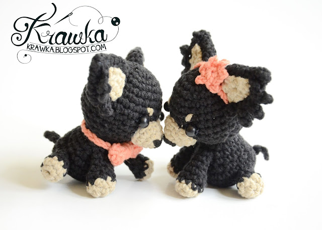 Krawka: Cute crochet dogs wedding gift - russian toy dog, free pattern by Krawka