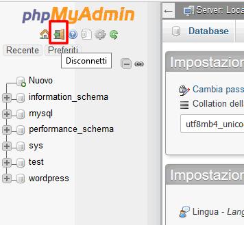 Come disconnettersi da PhpMyadmin