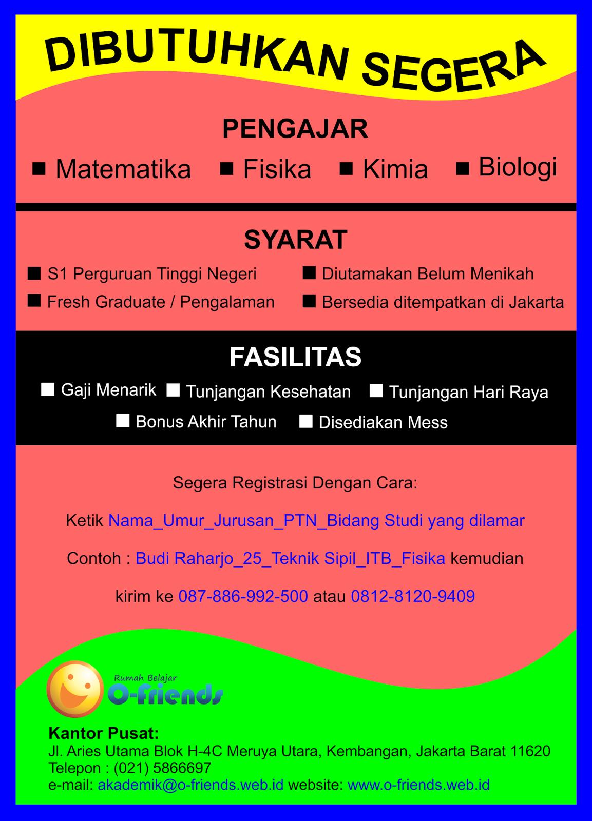 Lowongan Kerja Rumah Belajar O-Friends Januari 2017