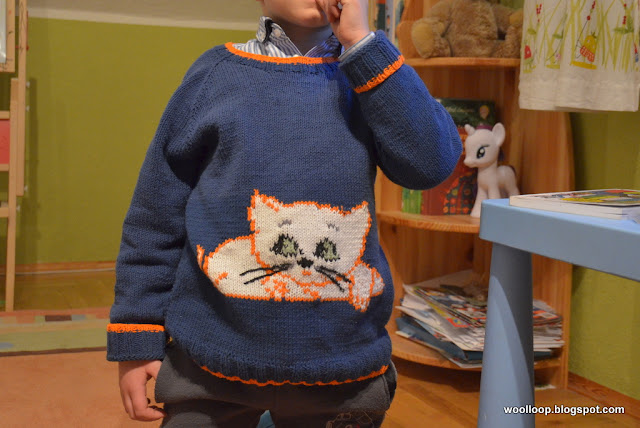 sweter na drutach z kotem Filemonem