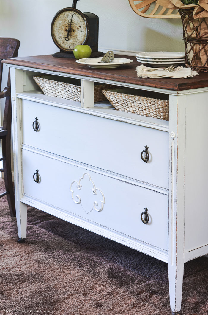 A dresser missing a drawer is given a DIY makeover to create a storage piece perfect for any room.  |  www.andersonandgrant.com
