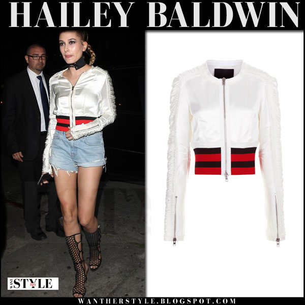 Hailey Baldwin in white satin alexander wang bomber jacket and denim shorts what she wore model style