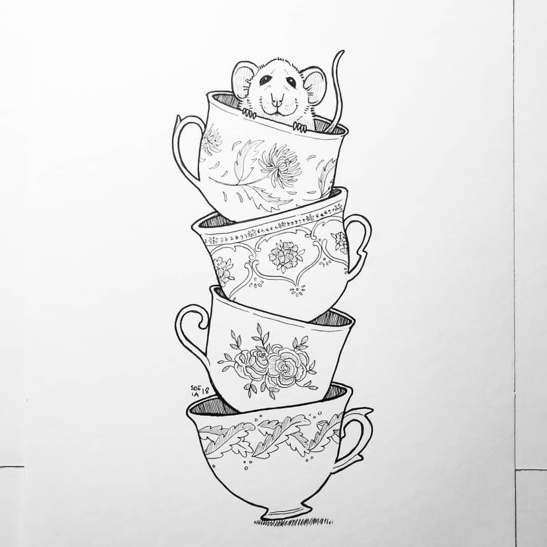 05-Mouse-in-a-Tea-Cup-Sofia-Härö-Black-and-White-Ink-Animal-Drawings-www-designstack-co