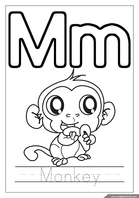 Printable English alphabet coloring page - letter m coloring