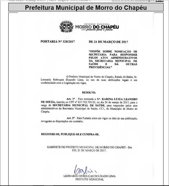 Prefeito de Morro do Chapéu nomeia nova secretária de Saúde