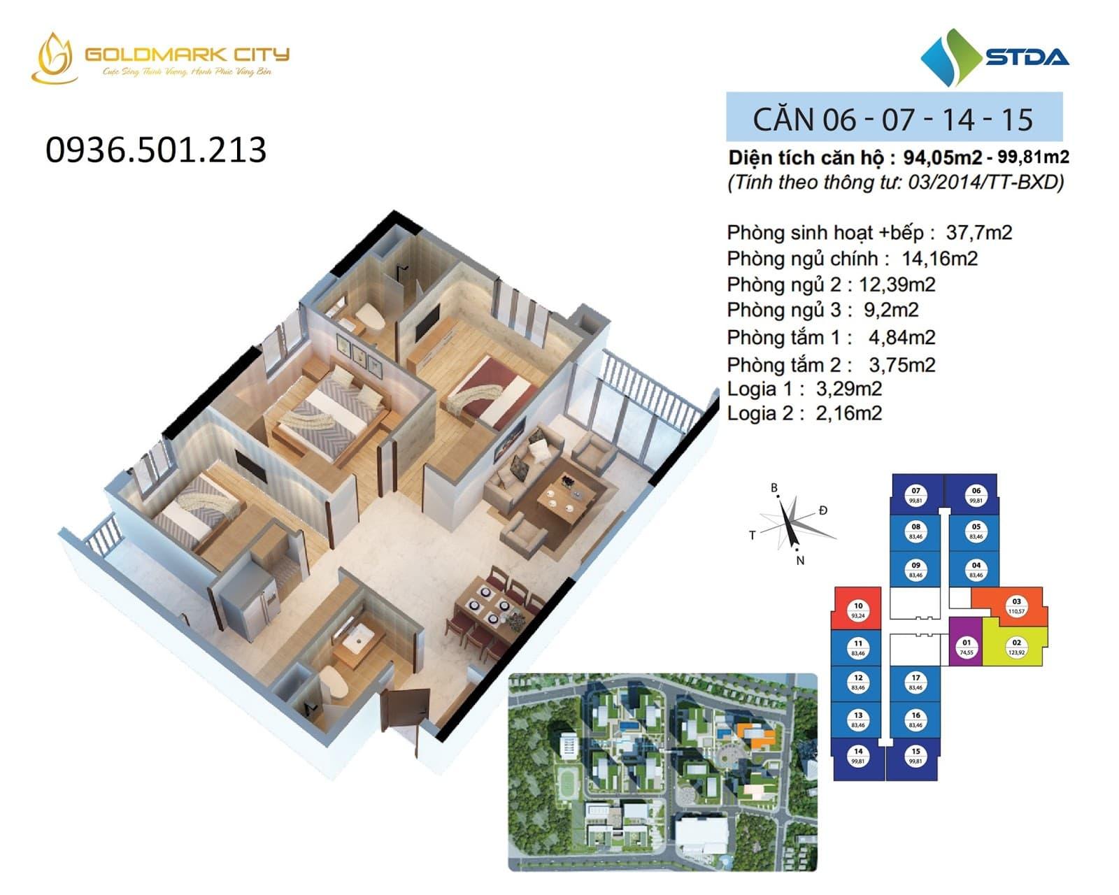 Mặt bằng căn hộ số 06-07-14-15 ruby 2- Goldmark City 136 Hồ Tùng Mậu