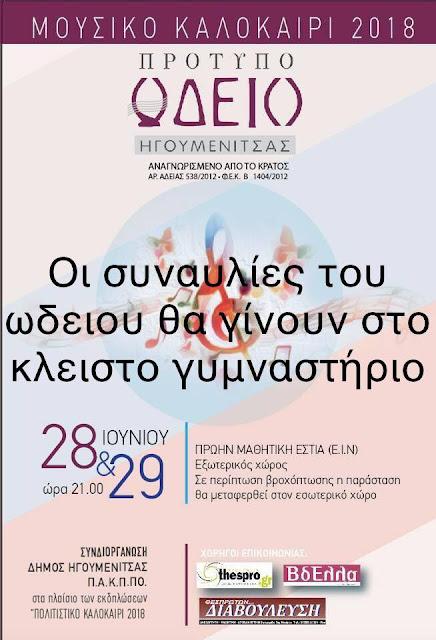 Στο Κλειστό Γυμναστήριο η σημερινή και αυριανή συναυλία του Πρότυπου Ωδείου Ηγουμενίτσας