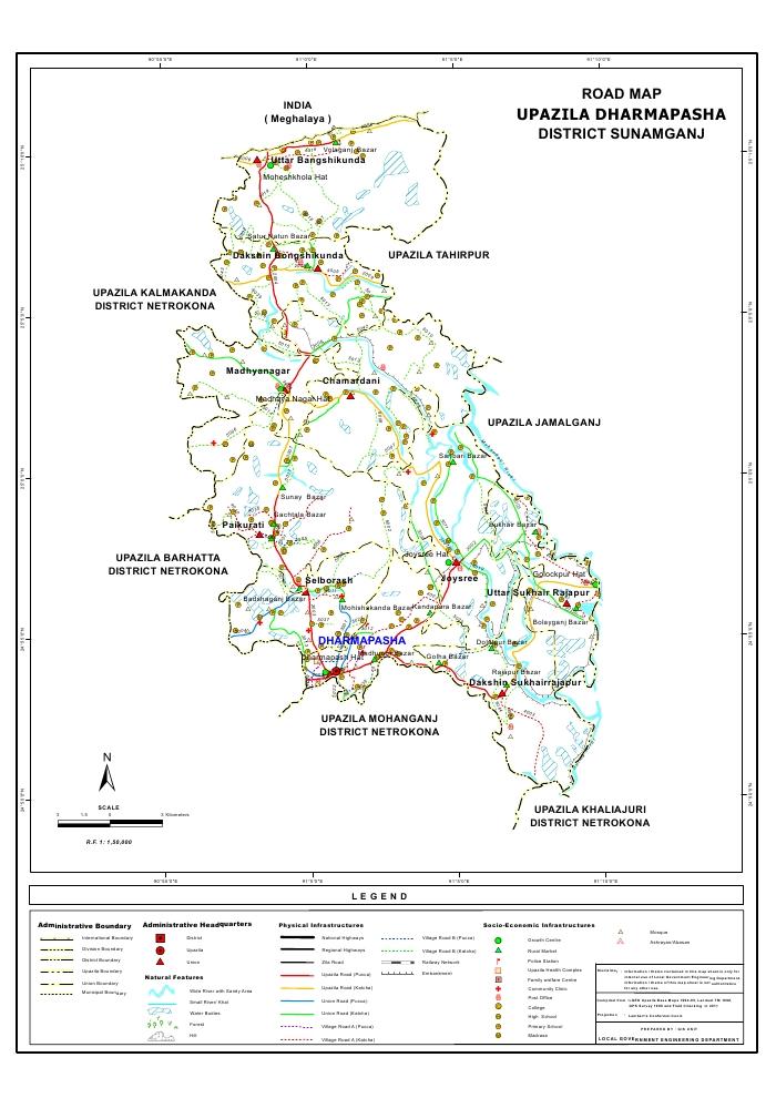 Dharmapasha Upazila Road Map Sunamganj District Bangladesh