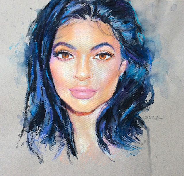 Retrato de Kylie Jenner con lápices de color.