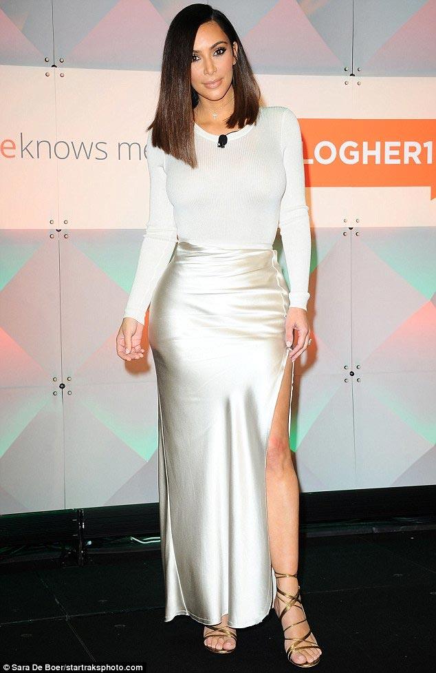 Kim Kardashian murders this cream silky dress she wore on Friday