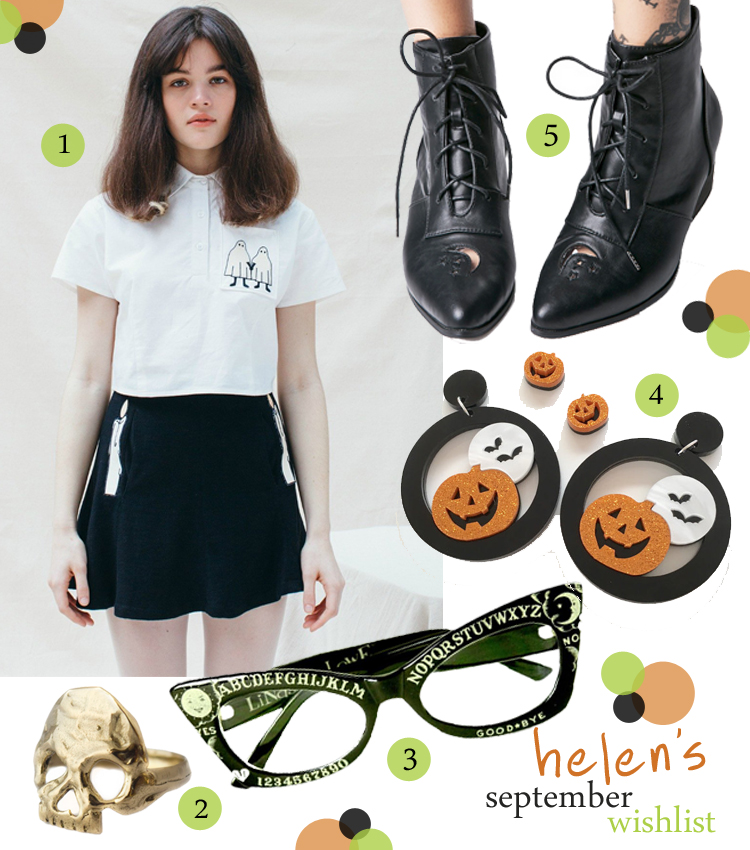 wishlist, wish list, blogger wishlist, Scottish blogger, spooky wishlist, Halloween wishlist, shost shirt, Hello Holiday, skull ring, statement skull ring, Goldengrove, Halloween earrings, pumpkin jewellery, Reverie Folie, black pointed boots. witch boots, Dolls Kill, ouija board glasses, unusual spectacles, Linsay Lowe Horror Eyewear
